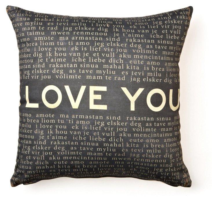 Love You 17x17 Cotton Pillow, Black