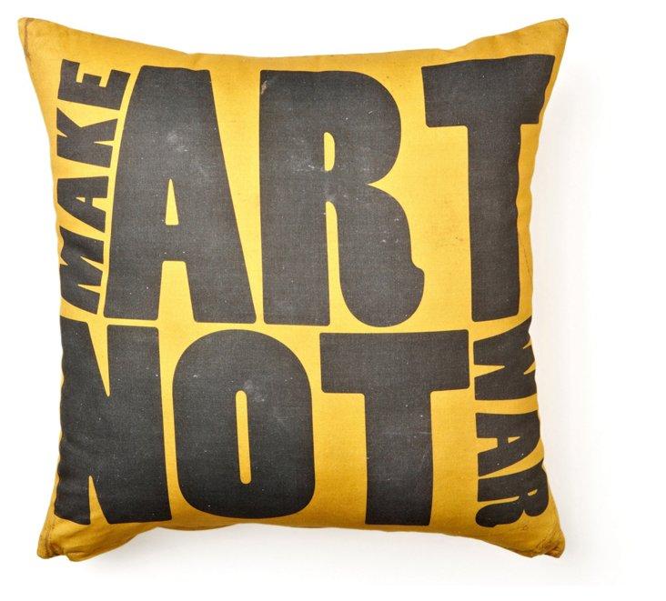 Make Art Not War 17x17 Pillow, Yellow
