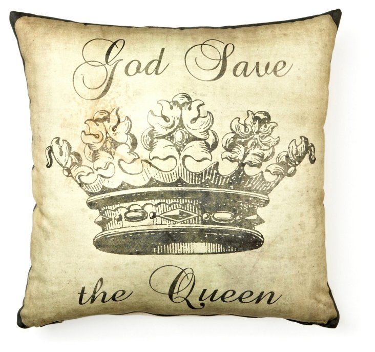God Save the Queen 17x17 Pillow, Antique