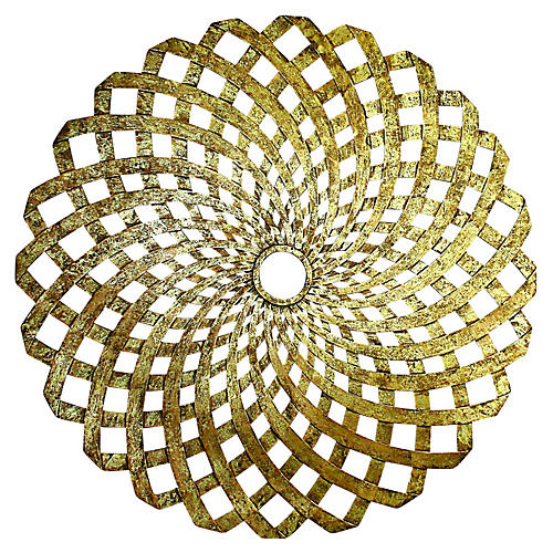 Woven Iron Ceiling Medallion, Gold