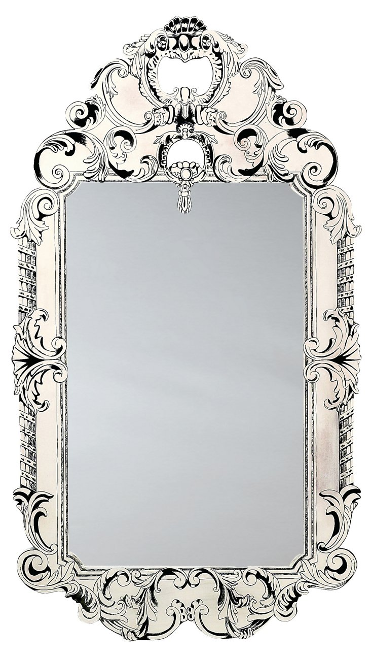 Carved And Stenciled Wall Mirror