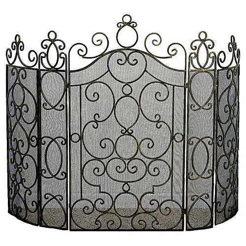 "41"" Luca Five-Panel Fire Screen, Gray"