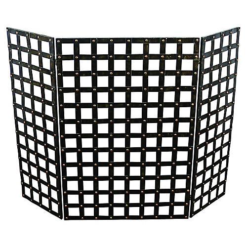 "36"" Deo Three-Panel Fire Screen, Black"