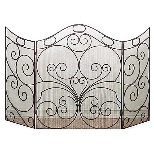 "40"" Nozzo Three-Panel Fire Screen, Gray"