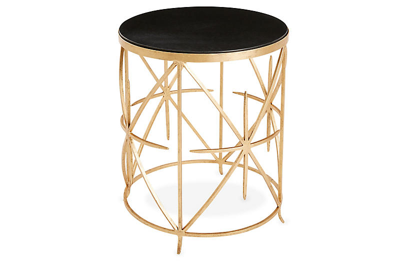 Amelia Iron Side Table, Gold