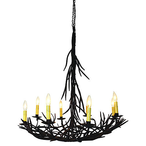 Twig 8-Light Chandelier, Gilded Iron