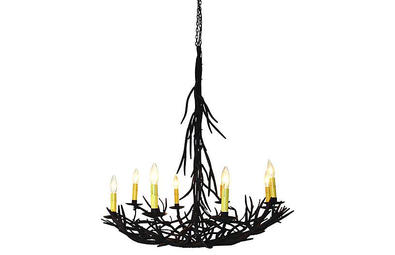 Twig 8-Light Chandelier, Gilded Iron
