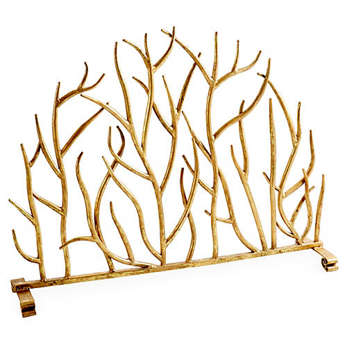 "30"" Decorative Twig Fire Screen, Gold"