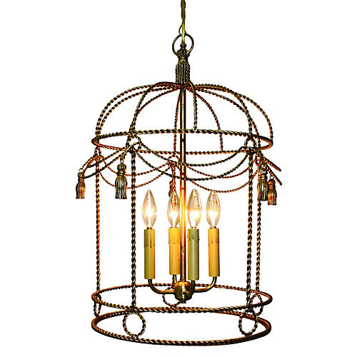 Birdcage Chandelier, Antiqued Gold