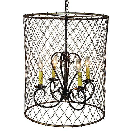 4-Light Wire Chandelier, Antiqued Gold