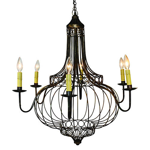 Domed 8-Light Chandelier, Bronze