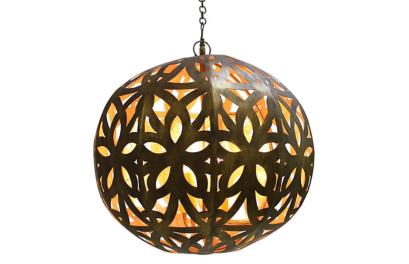 Cut-Out Sphere Pendant, Gold