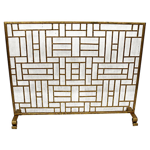"39"" Litzy Fireplace Screen, Italian Gold"