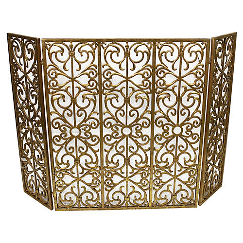 "45"" Sierra Three-Panel Fireplace Screen, Gold"