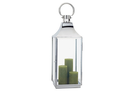 Portico Stainless-Steel Lantern, Silver