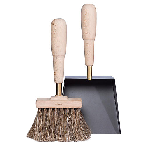 Emma Dustpan & Brush Set, Gray/Tan
