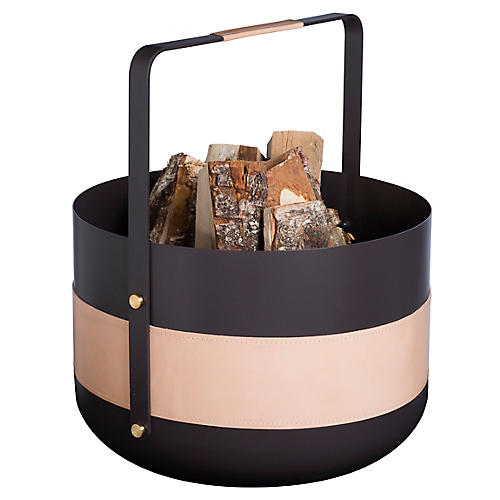 Emma Log Basket, Black/Tan