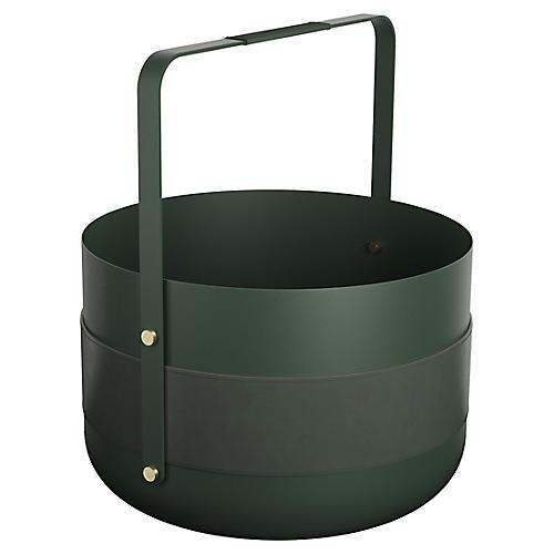 Emma Log Basket, Forest Green/Gray