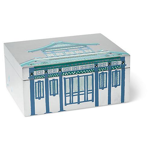 """21"""" Agra Pagoda Box, Silver Leaf"""