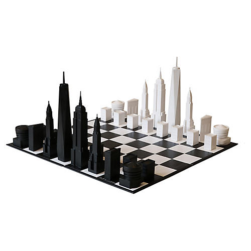 New York City Chess Set, Black/White