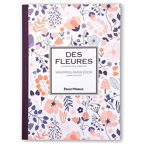 S/12 Des Fleurs Gift Wrap Sheets