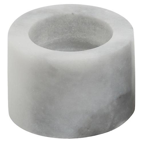 """6"""" Tealight Marble Candleholder, White"""
