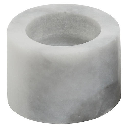 """2"""" Tealight Marble Candleholder, White"""