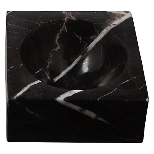 "10"" Block Decorative Bowl, Black"