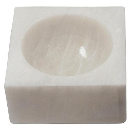"10"" Block Decorative Bowl, White"