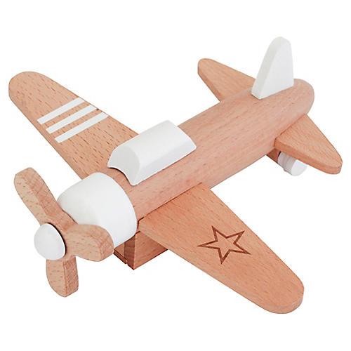 Kids' Airplane Toy, Tan/White