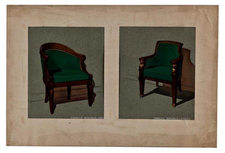 Pair of Chairs, Original Drawing