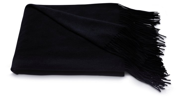 Cashmere Solid Throw, Black