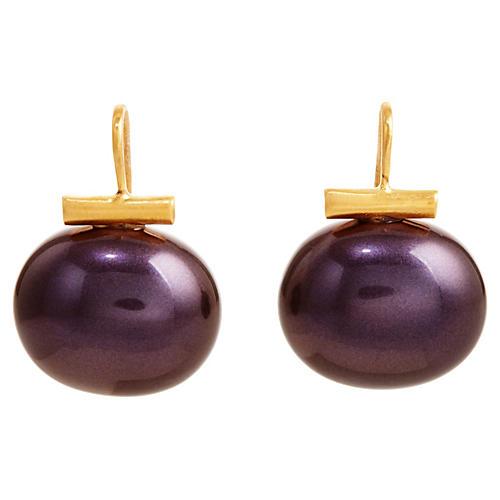 Pearl Drop Earrings, Sapphire Purple