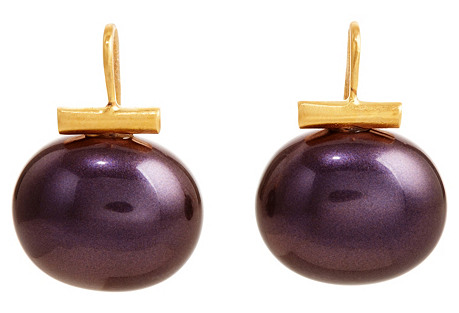 Pearl Drop Earrings, Sapphire Purple