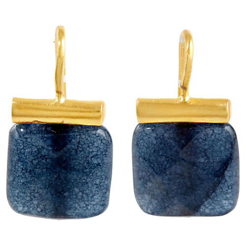 Dark Blue Jade Earrings, Dark Blue