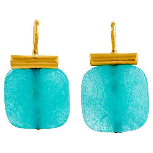 Bright Blue Quartz Earrings, Bright Blue