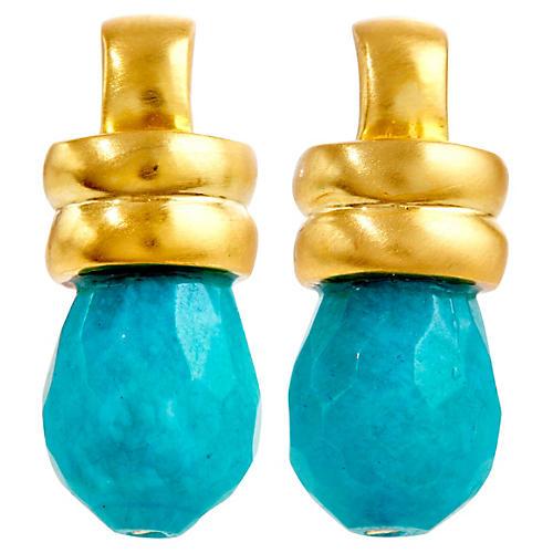 Blue Quartz Teardrop Drop Earrings