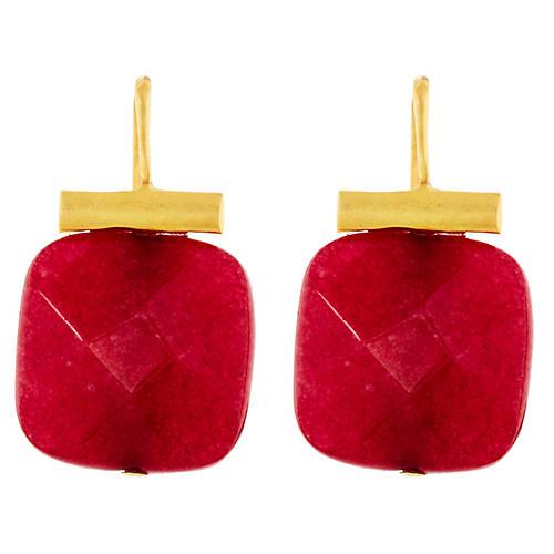 Ruby Quartz Earrings, Ruby