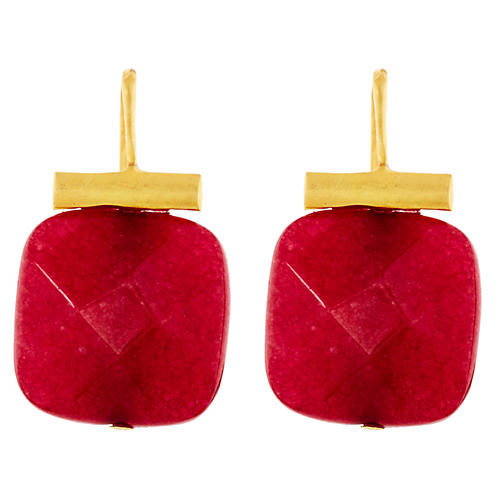 Ruby Quartz Earrings, Ruby