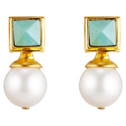 Turquoise White Pearl Earrings
