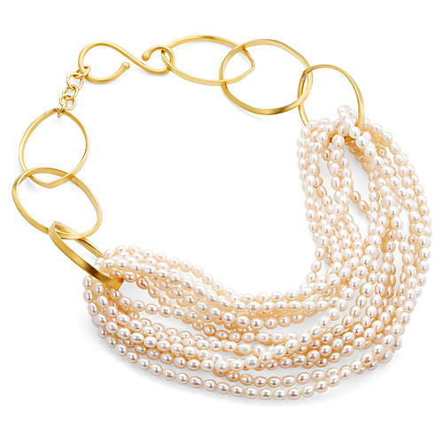Freshwater Pearl Gold Twist Necklace