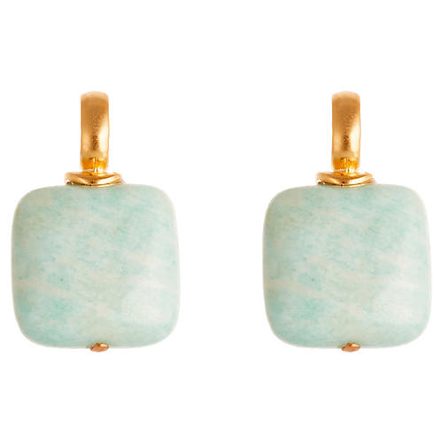 Roy Stud Earrings, Light Blue/Gold