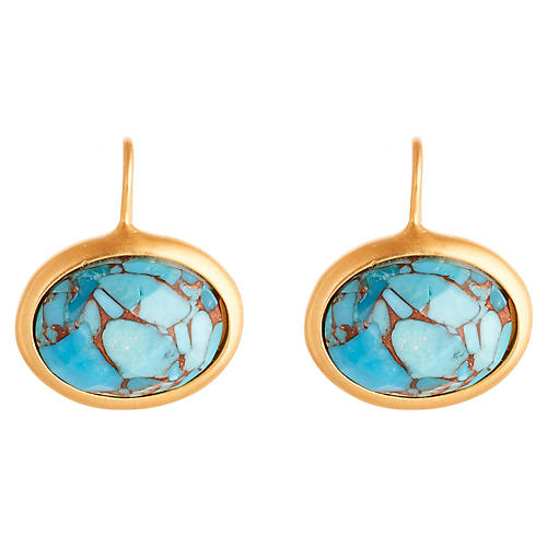 Oval Brina Drop Earrings, Turquoise/Gold