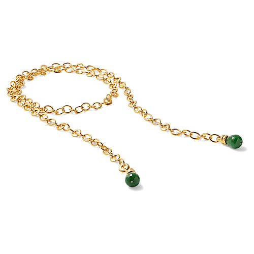 Green Quartz Rolo Chain Lariat