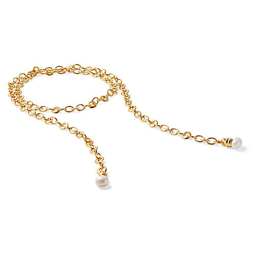 Mother-of-Pearl Rolo Chain Lariat