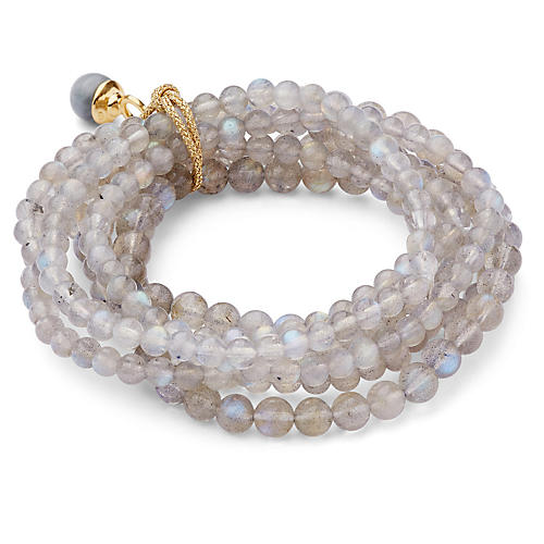 Labradorite Stretch Bracelet Set, Gray