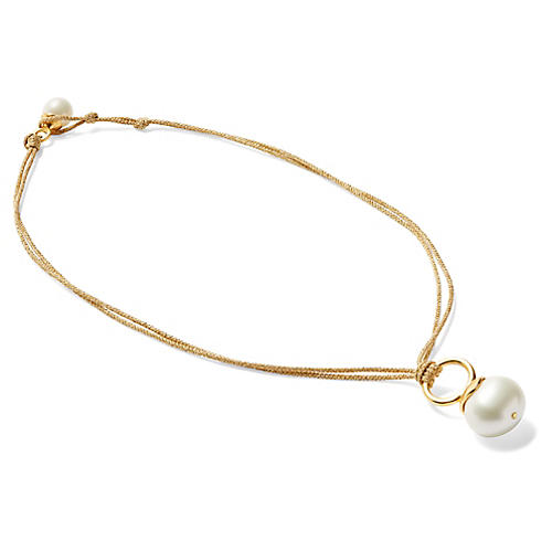Mother-of-Pearl Golden Cord Necklace, Brass