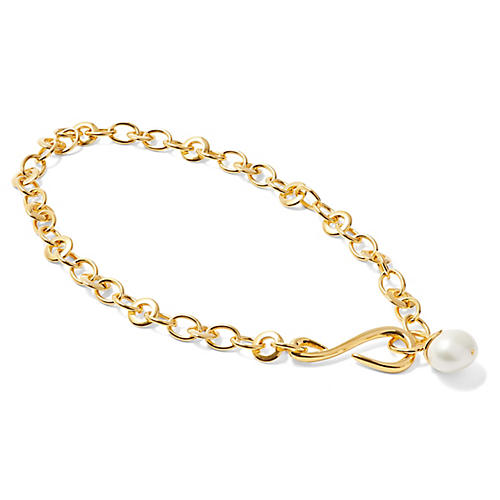 Mother-of-Pearl S-Hook Necklace, Brass