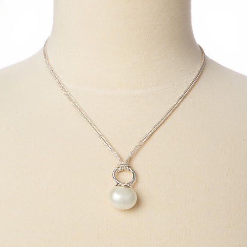 Mother-of-Pearl Silver Cord Necklace