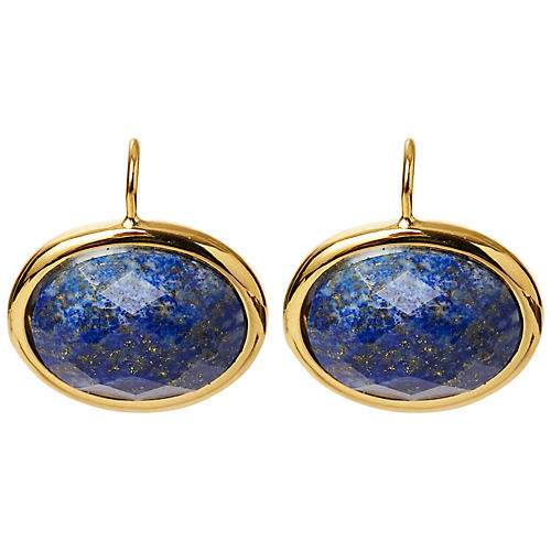 Lapis Cabochon Drop Earrings